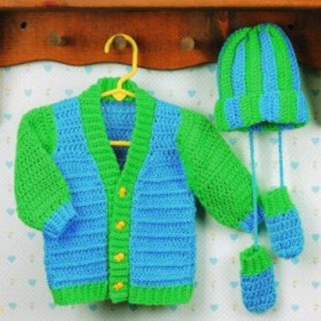 Crochet infant baby boy ensemble (sweater, hat and mittens)