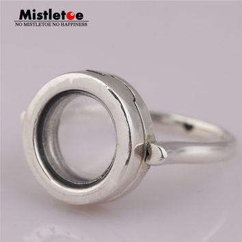 Mistletoe Genuine 925 Sterling Mistletoe Floating Locket Ring European Jewelry Not Include Petite Charm