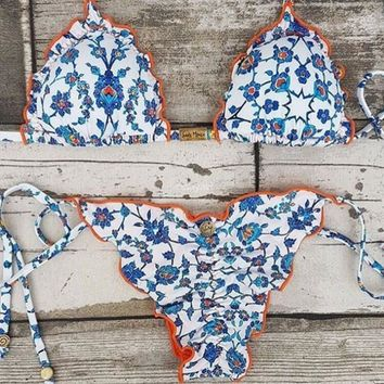 Fashion Vintage Blue Floral Print Orange Edge Bandage Bottom Side Knot Two Piece Bikini Swimsuit