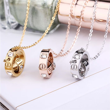 Trendy Stainless Steel Choker Necklace Pendant Women Crystal PVD Gold Plated Rose Gold Silver Couple Love Famous Brand Jewellery