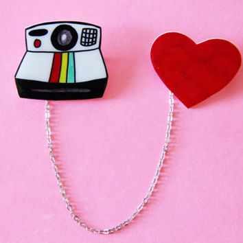 Polaroid Camera Love Brooch Set w/ Chain