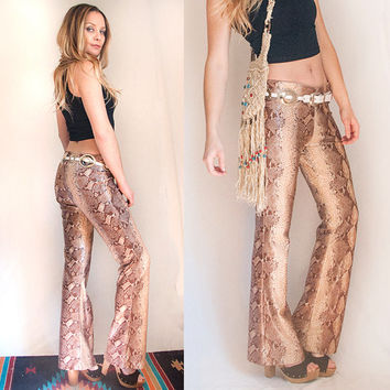 Womens 90s Snakeskin Bell Bottom Pants Size S / M | Small Medium Tan Brown Animal Print Club Kid Flare Pants 80s Biker Vintage Bell Bottoms