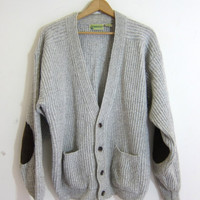 20% OFF SALE vintage thick knit swaeter / button up cardigan sweater // elbow patches