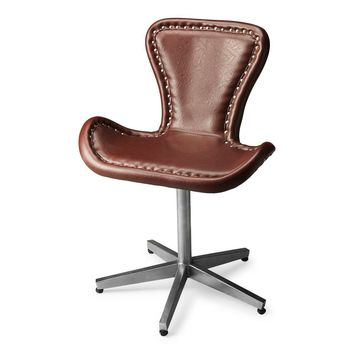 Midway Modern Accent Chair Rich Brown Leather
