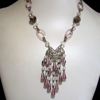 Art Deco Czech Bib Necklace, Purple Crystal Glass Beads, Dangles Rings Tubes,  Signed, Metal Links, Attached Pendant 1115
