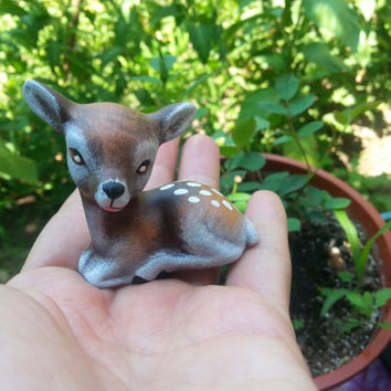 New promotion!!!Big set of two foxes figurines and two baby deer  figurines, fairy garden,fox,deer, baby deer, deer family, gift, garden