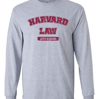 Harvard Law just kidding funny humor ivy college nerd party geek league retro cool - Long sleeve shirt - apparel clothing - IIT222