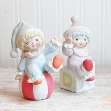 Pastel Porcelain Nursery Clowns - Vintage Homco Figurines Boy Girl