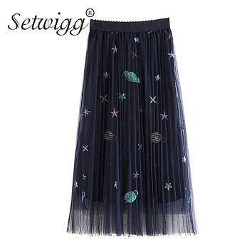 SETWIGG Sweet Embroidered Galaxy Pleated Layered Tulle A-ling Long Summer Skirts Sequined Stars Planets Mesh Long Pleated Skirts