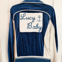 vintage 1980s levi's olympics velour warmup jacket USA swimming blue lucy baby