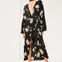 Missguided - Black Floral Printed Silky Kimono Maxi Dress