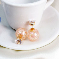 Creative Transparent Glass Crackle Beads Crystal Ball Earrings stud