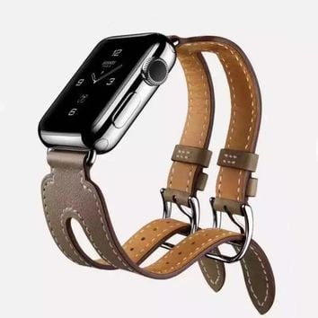 CRESTED Leather Double Buckle Cuff band For Apple Watch 42 mm/38 strap bracelet & Genuine Leather watchband strap for iwatch 1 2