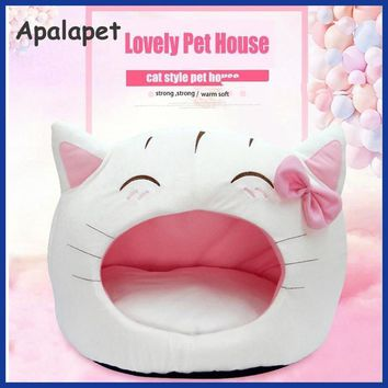 Cute Bow House Dog Bed Pet Bed Warm Soft Dogs Kennel Dog Bed Pet Sleeping Bag.
