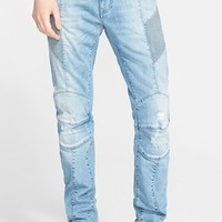 Men's Pierre Balmain Distressed Moto Jeans ,