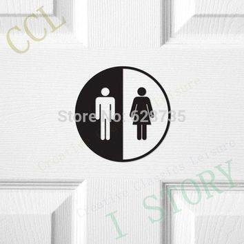Creative Funny Toilet Entrance Sign Decal Vinyl Sticker For Shop Office Home Cafe Hotel Toilet door sticker free shipping