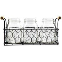 Metal Basket with Glass Milk Bottles | Hobby Lobby