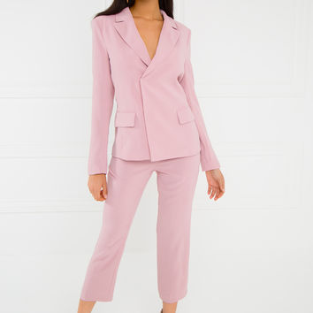Above All That Blazer Set - Pink