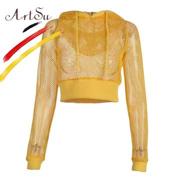 ArtSu Autumn 2018 Sexy Women See Through Mesh Fishnet Tee T-Shirts Punk Hooded Long Sleeve Crop Tops Hollow Out Yellow Kpop