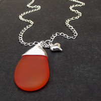 Orange Sea Glass Necklace:  Fine Silver Wire Wrapped Tangerine Tango Wedding Jewelry, Bold Modern Necklace with Heart Charm