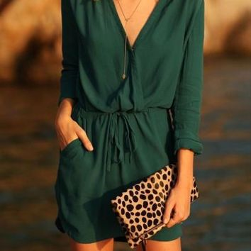 3/4 Sleeve Lace up Green Women's Day Dress