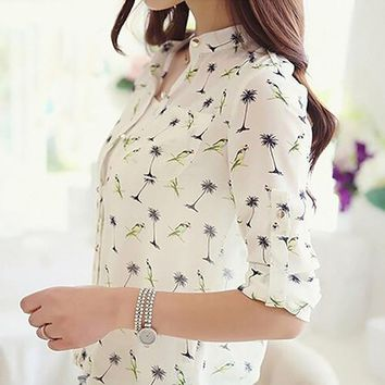 Fashion Bird Tree Chiffon Button Front Half Sleeve Women Blouse Shirt Casual Top