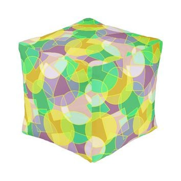 Stained glass geometric pattern cube pouf
