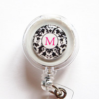 Damask Custom ID Badge Holder by KellysMagnets