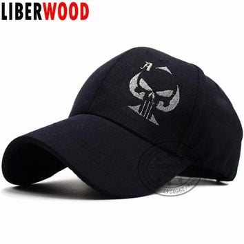 Old Playing Card Ace of Spades Cap Punisher Skull Black Baseball Cap