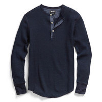 Long Sleeve Thermal Henley in Indigo