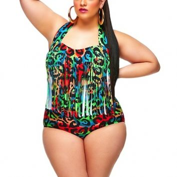 """Sao Paulo"" Plus Size Bikini Fringe Top with Underwire - Rude Gal - What's New - Monif C"