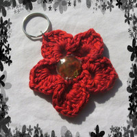 Holiday Special Red, Flower with Jewel in the Center Key Chain Handmade and Ready to Ship