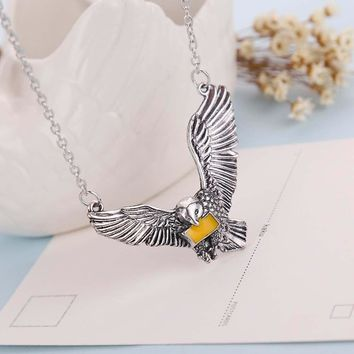 Harry Magic School Potter Ravenclaw Gryffindor Eagle Pendant Necklace Movie Hedwig Pendant Necklace Cosplay Accessories