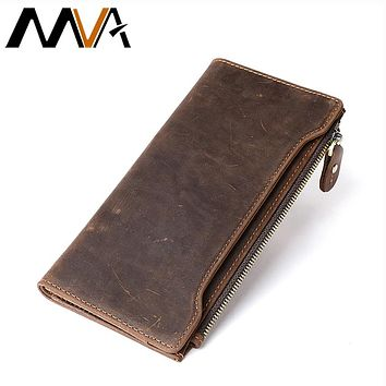 Men Wallets Crazy Horse Genuine Leather Wallets With Coin Pockets Vintage Coin Purse Men Wallet Male Money Card Holders