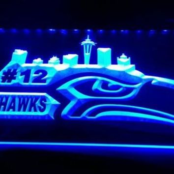 LS1571-b-Seattle Seahawks Go Hawks 12 Man Bar 3D LED Neon Light Sign Customize on Demand 8 colors to choose