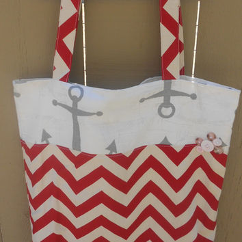 Nautical tote bag, chevron tote, diaper bag, book bag