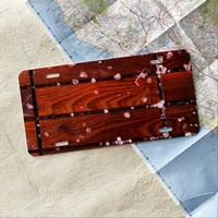 Cool Brown Wooden Ply texture With Wintry Snow Ice License Plate