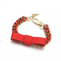 Red Leather Bow Bracelet