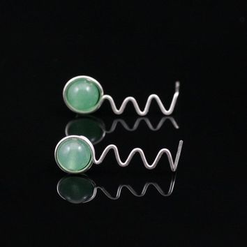 Sterling silver zigzag jade stud earrings Bridesmaids gifts Free US Shipping handmade Anni Designs