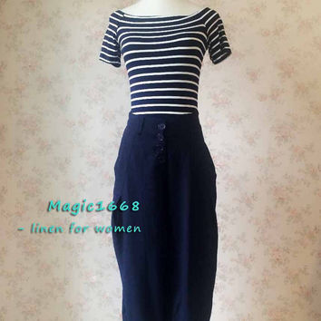 Navy blue Casual Pants. Summer Linen Pants Trousers. Cozy Loose Wide Leg Pants. Day Pants. Designer Crotch pants. Women Pants Trousers