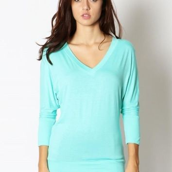 Women's Mint Green Tunic Top Dolman Sleeve V-Neck:  S/M/L