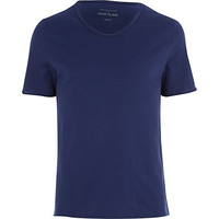 River Island MensDark blue low scoop neck t-shirt