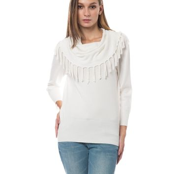 LE3NO Womens Cowl Neck 3/4 Sleeve Fringed Knitted Sweater Top