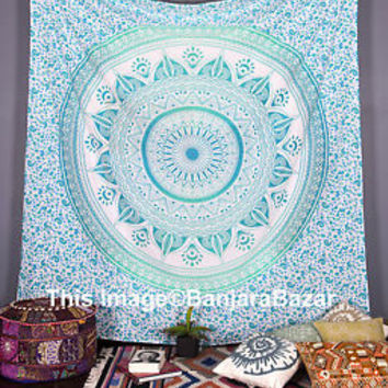 Hippie Ombre Mandala Tapestry Indian Queen Wall Hanging Throw Bohemian Bedspread