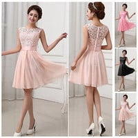 Women Chiffon MINI Bridesmaid Evening Formal Prom Party Wedding Gown Dresses