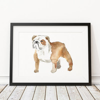 Dog watercolor Bulldog print Cute nursery art ACW57