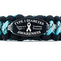 Custom Paracord Bracelet - 550 Paracord Survival Bracelet with Type 1 Diabetes Awareness Engraved Stainless Steel ID Tag