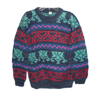 Mens bohemian indie hipster hippie handmade ugly christmas sweater ecuador cosby coogi style blue geometric abstract shapes wool large