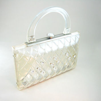Clear Lucite Purse Carved Lattice Rhinestone Jeweled Clasp Wedding Vintage Clutch 1950s Accessory
