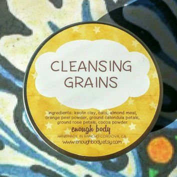 Cleansing Grains ~ Facial Cleanser ~ Cleansing Mask ~ Face Wash ~ Skin Polish ~ Exfoliating Face Scrub ~ Vegan Cleanser ~ 100% Natural